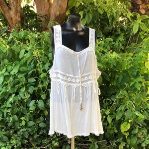Free People Cream Tank with Macrame M